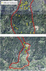 Aranayake landslides areal view