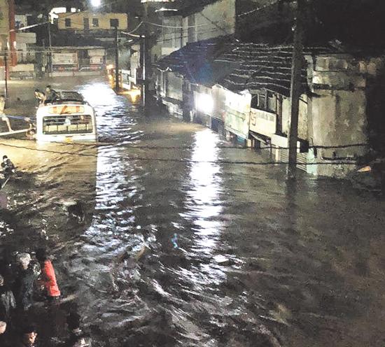 A submerged street